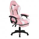 Irodai/gamer szék RGB LED világítással, rózsaszín/fehér, JOVELA