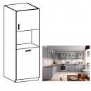 LAYLA D60P - Magas szekrény a beépíthető sütőhöz, szürke matt/fehér