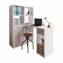 MINESON - PC asztal könyvespolccal, fehér/beton