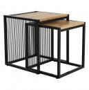 RIMBO - Két dohányzóasztal készlet, tölgyfa/fekete
