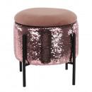 TOMIA - puff, rózsaszín/rózsaszín flitterek/fekete
