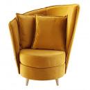 Fotel Art Deco stílusban, mustár színű Riviera szövet/tölgy, ROUND NEW