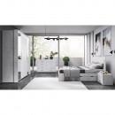 Hálószoba készlet (ágy+2x éjjeliszekrény+szekrény), szürke beton, ALDEN