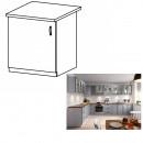 LAYLA D601F - Alsó szekrény, szürke matt/fehér, bal