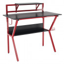 Számítógépasztal/Gamer asztal, piros/fekete, TABER
