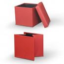 TELA NEW - Összehajtható puff, textilbőr piros