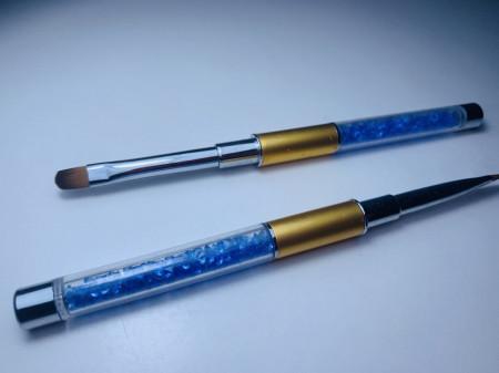 Pensula limba de pisica NR 6 cu cristale - ROYAL BLUE + GOLD