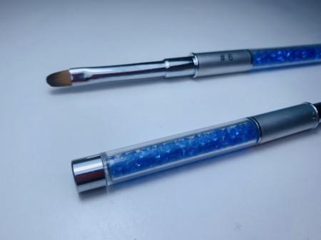 Pensula limba de pisica NR 6 cu cristale - ROYAL BLUE + SILVER