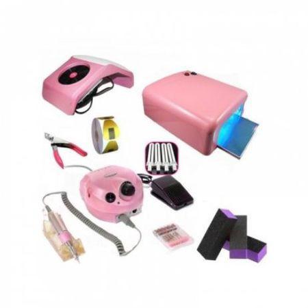 Kit aparatura unghii Profesional: pila Electrica Unghii 35.000 rpm + Aspirator Praf + Lampa Uv 36 W 4 neoane