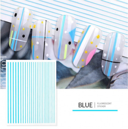 Sticker Neon Lines Blue