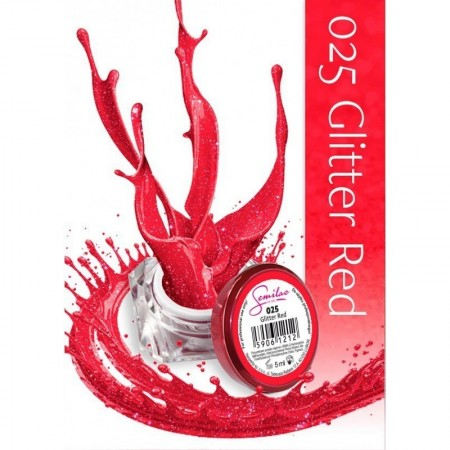 Gel color Semilac 025 Glitter Red