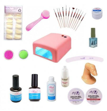 Kit unghii false cu Gel, lampa UV, tipsuri si pensule accesorii