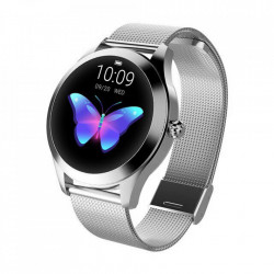 Ceas smartwatch loomax KW10 monitorizare ritm cardiac, pedometru, sedentarism, somn, notificari instant, bratara metalica, rezistent la apa ip68, vibratii, multi sport, silver