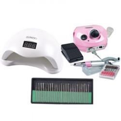 Kit aparatura unghii Profesional: pila Electrica Unghii DM202 35.000 rpm + Lampa SUN5 LED Uv 48W + Set 30 capete freza universale