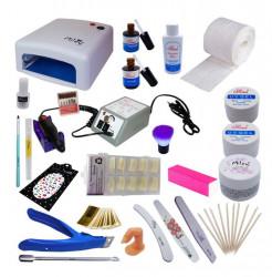 Kit unghii false profesional cu lampa UV, freza electrica, geluri de constructie si accesorii