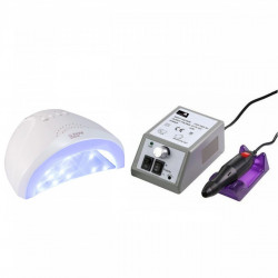 Set unghii false, Lampa LED, Model SUN ONE, 48 W si Freza electrica profesionala, 20.000 rpm