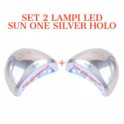 SET 2 Lampi Led / Uv Sun One Putere 24/48W SILVER HOLO
