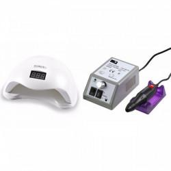Set unghii false, Lampa LED, Model SUN 5, 48 W si Freza electrica profesionala, 20.000 rpm