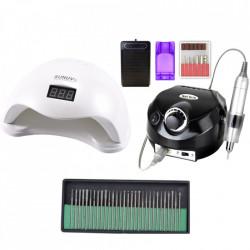 Kit aparatura unghii Profesional: Pila Electrica Unghii DM202 35.000 rpm black + Lampa SUN5 LED Uv 48W + Set 30 capete freza universale