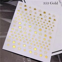 Decor unghii 353 stars gold cu reflexii