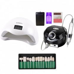 Kit aparatura unghii Profesional: pila Electrica Unghii DM202 35.000 rpm black + Lampa SUN5 LED Uv 48W + Set 12 capete freza universale