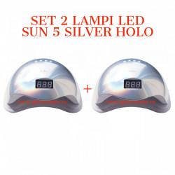 SET 2 Lampi LED SUN 5 cu afisaj digital - 48 W - SILVER HOLO
