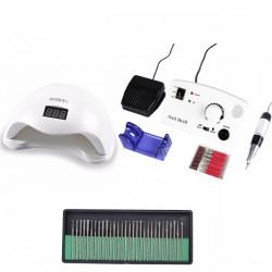 Set unghii false, Lampa LED, Model SUN 5, 48 W, Freza electrica profesionala, 30.000 rpm, si Set 30 capete de lucru universale