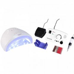 Set unghii false, Lampa LED, Model SUN ONE, 48 W si Freza electrica profesionala, 30.000 rpm