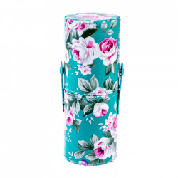 Tub depozitare pensule machiaj, imprimeu floral verde, 18 cm x 7 cm