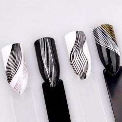 Banda decor valuri argintie+alb
