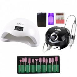 Kit aparatura unghii Profesional: pila Electrica Unghii DM202 35.000 rpm black + Lampa SUN5 LED Uv 48W + Set 12 capete freza universale roz
