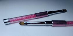 Pensula limba de pisica NR 4 cu cristale roz