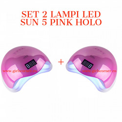 SET 2 Lampi LED SUN 5 cu afisaj digital - 48 W - PINK HOLO