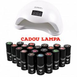 SET 20 oje semipermanente SEMIGEL + CADOU Lampa Led / Uv Sun 5 Putere 48w