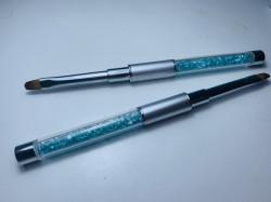 Pensula limba de pisica NR 6 cu cristale - turquoise