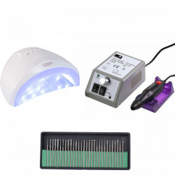 Set unghii false, Lampa LED, Model SUN ONE, 48 W, Freza electrica profesionala, 20.000 rpm, si Set 30 capete de lucru universale