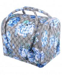 Geanta make-up motiv floral albastru
