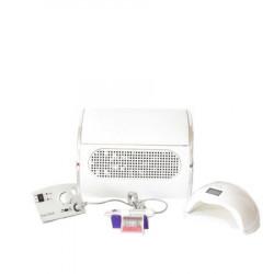 Kit aparatura unghii Profesional: pila Electrica Unghii 35.000 Rpm + Aspirator Praf 3 motoare + Lampa Led Uv 48 W