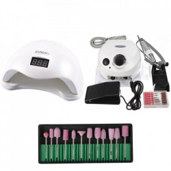 Kit aparatura unghii Profesional: pila Electrica Unghii DM202 35.000 rpm alba + Lampa SUN5 LED Uv 48W + Set 12 capete freza universale roz