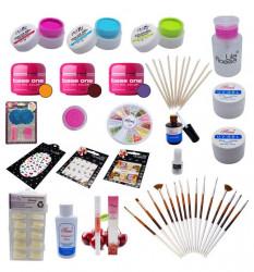 Kit unghii false gel UV cu geluri colorate, strasuri, stampila Nail Art, bete pentru cuticule si pensule aplicare