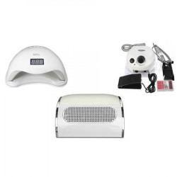Kit aparatura unghii Profesional: pila Electrica Unghii 35.000 Rpm + Aspirator Praf 3 motoare + Lampa SUN5 Led Uv 48 W