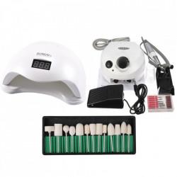 Kit aparatura unghii Profesional: pila Electrica Unghii DM202 35.000 rpm alba + Lampa SUN5 LED Uv 48W + Set 12 capete freza universale