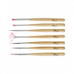 Pensule pentru unghii set 7 cu maner din lemn