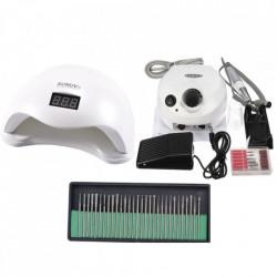 Kit aparatura unghii Profesional: Pila Electrica Unghii DM202 35.000 rpm alba + Lampa SUN5 LED Uv 48W + Set 30 capete freza universale