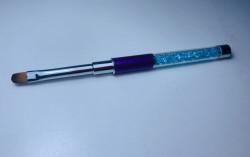 Pensula limba de pisica NR 6 cu cristale - BLUE + PURPLE