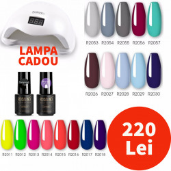 Set 18 Oje Semipermanente ROSALIND 7 ml + Top coat Tempered Rosalind + Primer Rosalind + Lampa LED SUN5 48W CADOU #R4