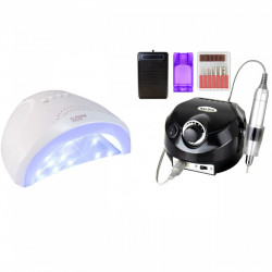 SET Lampa Led / Uv Sun One Putere 24/48W ALB + Freza electrica DM 202 Black 35.000 rotatii