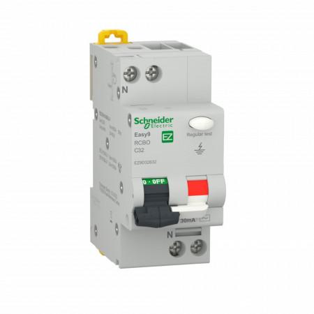 Siguranta automata cu protectie diferentiala 6A P+N, tip AC, 30mA, 4.5kA, Schneider Easy9
