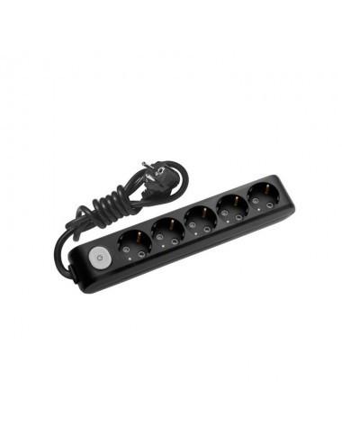 Hosszabbító , 5 aljzat 1,5 méteres + kapcsoló, Panasonic X-tendia, fekete
