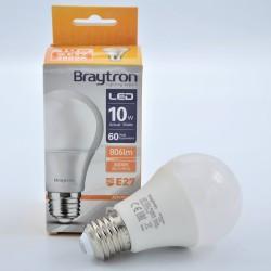 LED izzó 10W A60 E27, Braytron, meleg fény